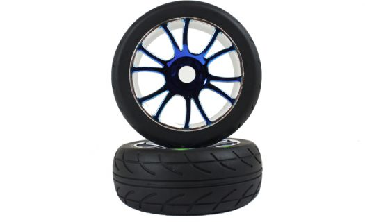 Blue Chrome On Road Tire andamp;Amp; Rim Complete 2P (67007Pb)