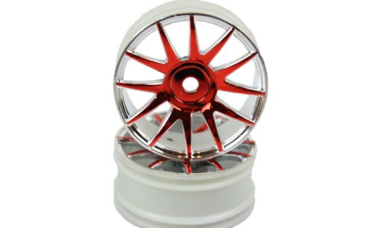 Red|Chrome 12 Spoke Rims 2P  (82827)