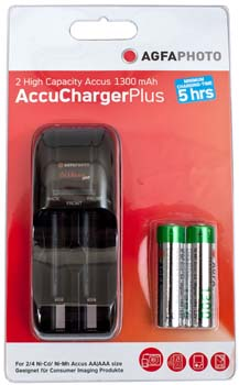 Agfaphoto Battery Charger With 2 X Aa 1300 Batteries