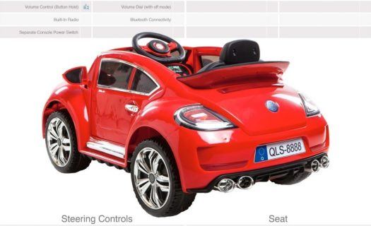 Ride On Vw Beetle Style Kids Ride On Car -Red