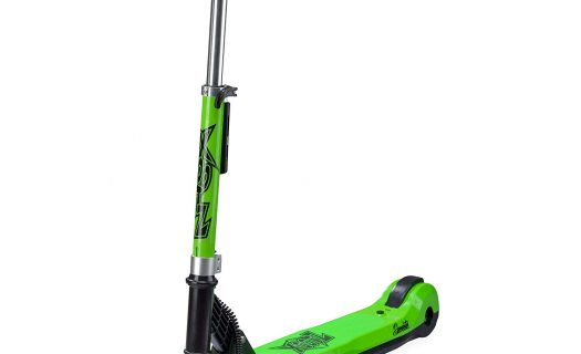 Xootz Kids Elements Electric Folding Scooter with LED Light Up Wheel and Collapsible Handlebars Green