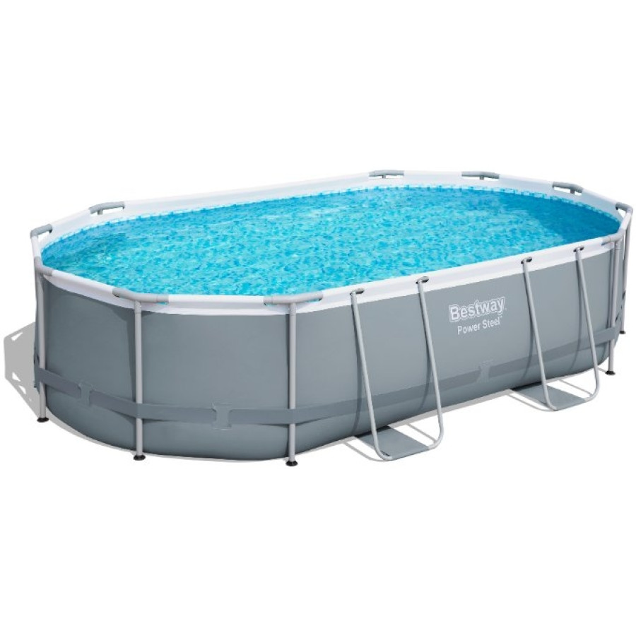 Bestway 56448 16ft X 10ft X 42in Power Steel Frame Oval Pool Set