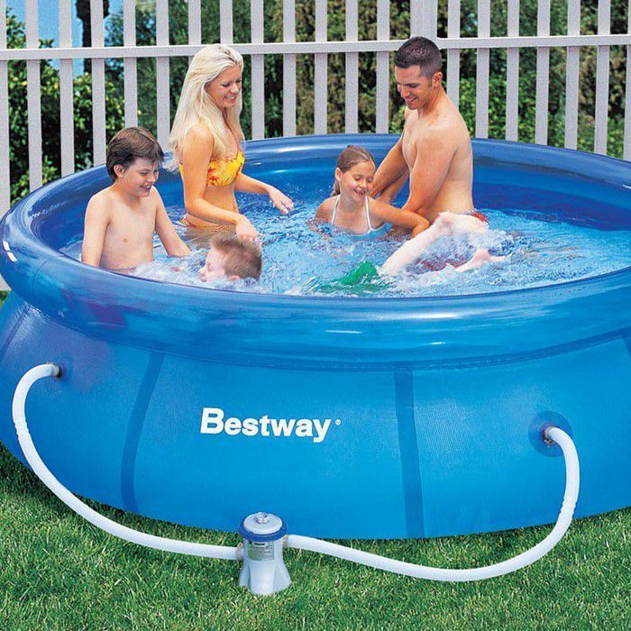 10ft Bestway Inflatable Fast Set Pool With Filter Pump 57270