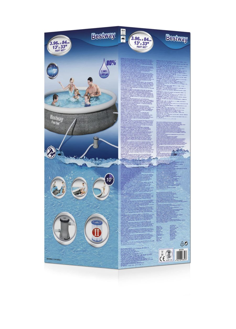 Bestway 57376 13ft X 33″ Round Fast Set Above Ground Swimming Pool & Filter Pump
