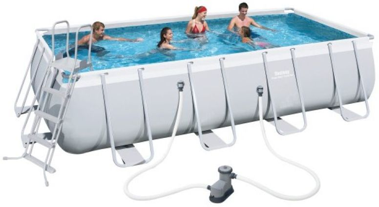 Bestway 56465 18ft Pro Silver Rectangle Framed Pool – 18ft X 9ft X 48in With Pump
