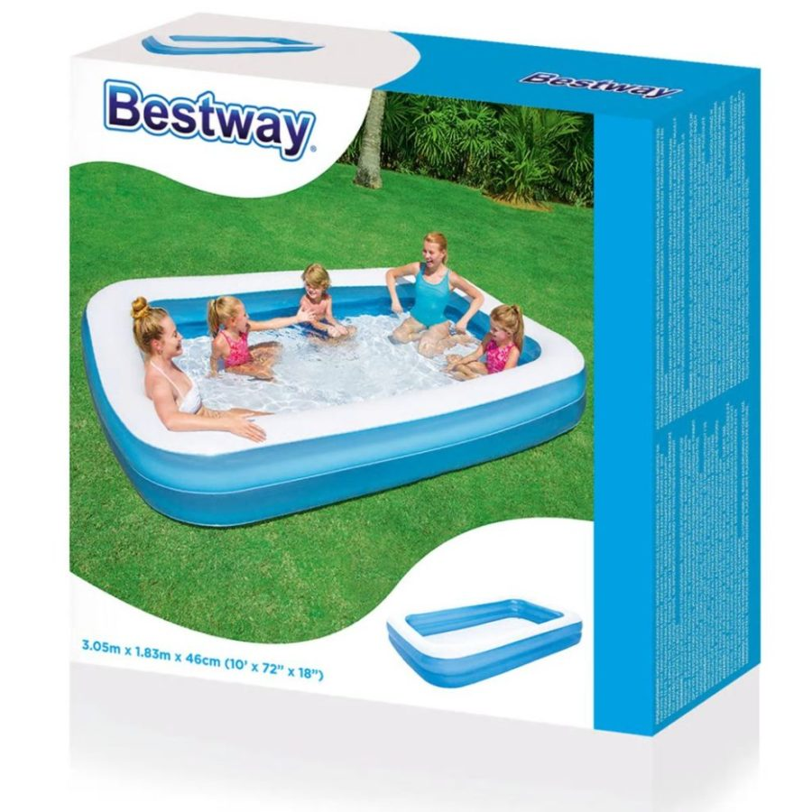 Bestway Rectangular Inflatable Family Pool – 120 Inch, Blue 54150