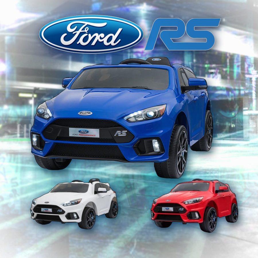 Licensed Ford Focus Rs 12v Childrens Kids Battery Ride On Car – Blue