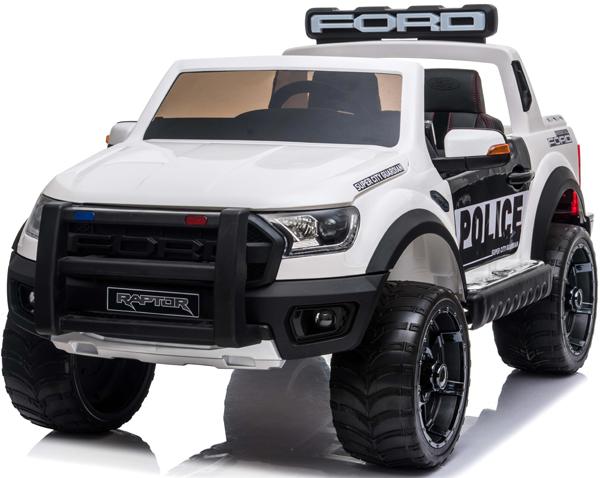 Ford Ranger Raptor Police Licensed 4wd 12v Battery Ride On Jeep –  White