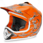 Kids Motocross Mx Open Face Helmet Orange
