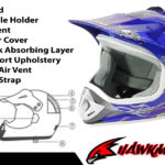 Kids Motocross Mx Open Face Helmet Blue