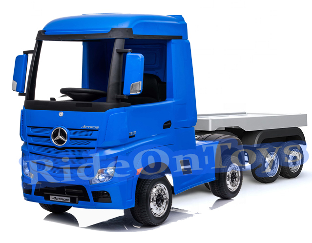 Mercedes Actros 24v* Electric Kids Truck With Trailer -blue