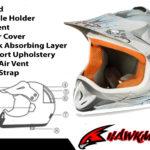 Kids Motocross Mx Open Face Helmet Silver