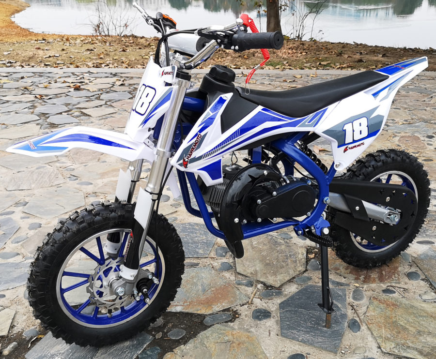 Hawkmoto Strike V2 50cc Kids Mini Dirt Bike Blue
